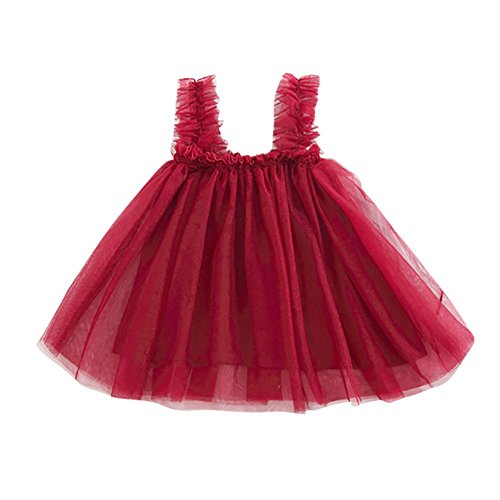❤️LILICAT Enfants Infantile Enfant Filles Solide Dos Nu Courroie Filet Tutu Robe Vêtements 12M-4T (Wine, 12M)