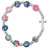 Bracciale con croce e perle colorate
