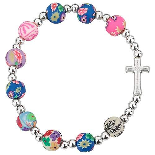 Armband mit Kreuz, bunte Perlen (Damen Kirche Passt)