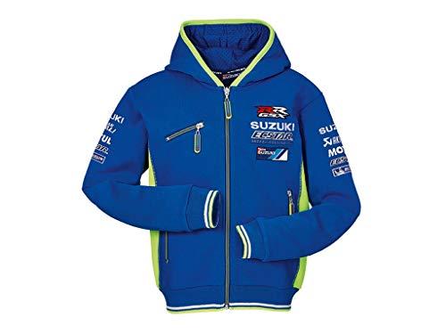 SUZUKI MotoGP Team Hoodie KIDS Ecstar Team Kapuzen Sweatshirt ZIPPER Jacke blau neon gelb (XL)