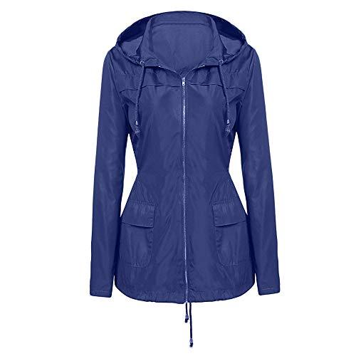 kolila Jacke Mantel Damen Regenmantel mit Kapuze Reißverschluss Schlanke Taille Tops Outwear Casual Winddicht Wasserdicht Hoodie Sweatshirt -