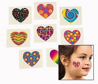 36 Funky Heart Childrens Temporary Tattoos | Kids Temporary Tattoos Party Favour