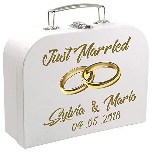MCK-Handel Hochzeit - Koffer weiß 30cm für Brautpaare mit der Aufschrift Just Maried mit Goldenen Ringen und [Vor-Namen des Brautpaares und [Tag der Hochzeit]