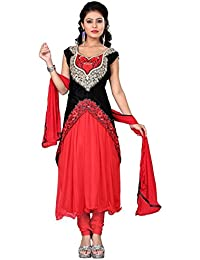 Radhey Arts Red and Black Net and Velvet Embroidered Salwar Suit