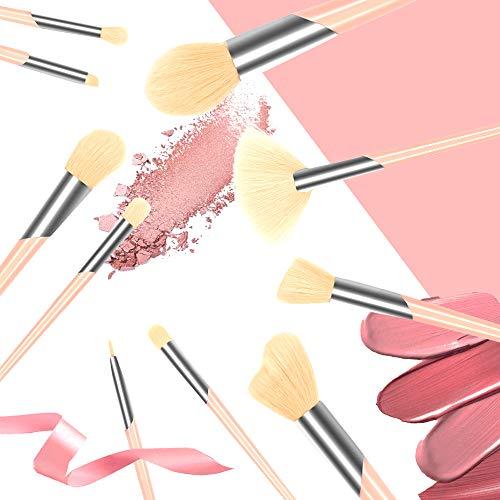 SOMIO Make Up Pinsel Set mit Leder Tasche Pinselset Kosmetik 10 Stück Kosmetikpinsel Schminkpinsel Kabuki Foundation Beauty Tools (Weißer Bürstenkopf) - Smoky Eye Pinsel