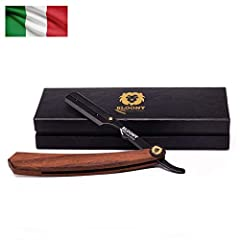 Idea Regalo - Bloony Rasoio a mano libera professionale da barbiere con manico in legno kit barba uomo composto da 20 (x2) lamette Shark e Sharp Platinum e beauty case uomo - design italiano - idea regalo uomo