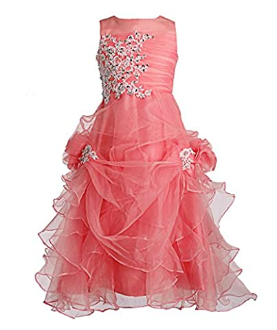 FAIRY COUPLE Girl's Ruffled Applique Flower Girl Communion Pageant Dress K0073 4 Coral