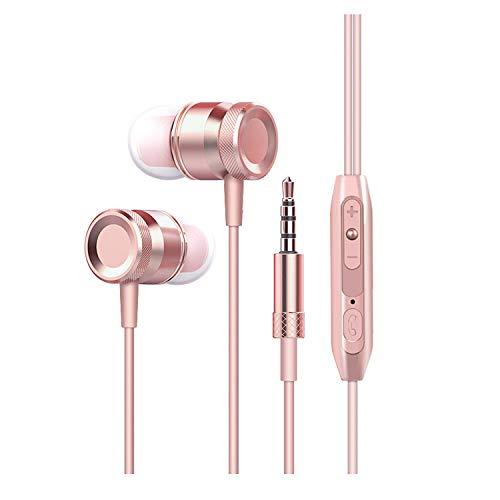 HUAYT In-Ear-Kopfhörer/Ohrhörer mit Mikrofon und Fernbedienung, mit Rauschunterdrückung, Roségold
