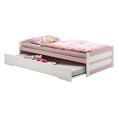 *Tandembett Funktionsbett Schubladenbett Auszugsbett LORENA in weiss-rosa lackiert 90 x 200 cm Liegefläche*