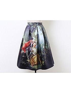 ZLL Mujer Faldas,Línea A Estampado Animal Tiro Medio Noche Midi Elasticidad Algodón Micro-elástica Otoño , one-size