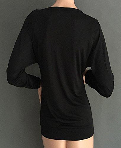 Donna Party Top Maglie a Manica Lunga Casuale Elegante Maglietta Camicia a Maniche Lunghe Scollo V e Cerniera Casual T-shirt Nero