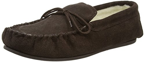 SNUGRUGS Wool Lined Suede Moccasin With Rubber Sole, Chaussons homme Marron (Marron foncé)