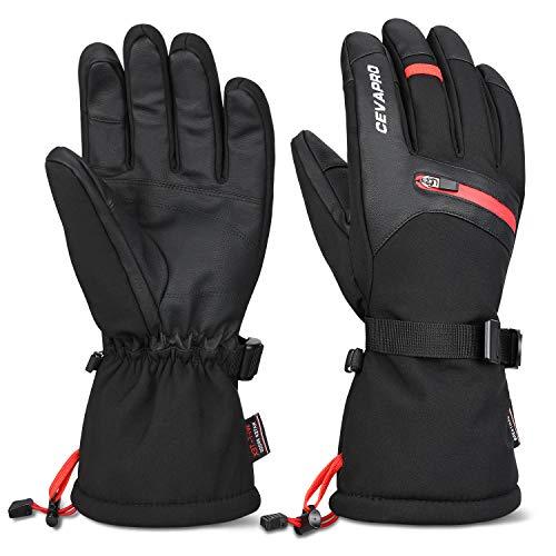 Cevapro Skihandschuhe Warme Winterhandschuhe wasserdichte Snowboard HandschuheTouchscreen Handschuhe für Herren Frauen zum Wintersport wie Skifahren Motorradfahren Fahrradfahren (M)