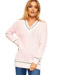 41a1dcf363564 Ladies Knitted V Neck Cable Cricket Jumper Long Sleeve Womens Striped Top  Pink 12 14
