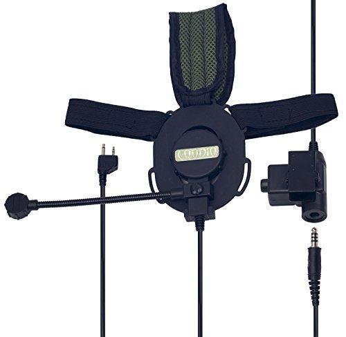 Coodio Midland Funkgeräte Ohrhörer 2 Pin Tactical Military Headset [Große PTT] [Boom Mikrofon] [Noise Cancelling] Kopfhörer Mikrofon [Outdoor-Sportarten] Für 2-Pin Midland Stecker Walkie-Talkie PMR