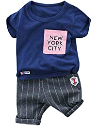 Conjunto de Camiseta Tops con Letras y Pantalones Cortos a Rayas para 0-36  Meses bebé niños 351c4889be8