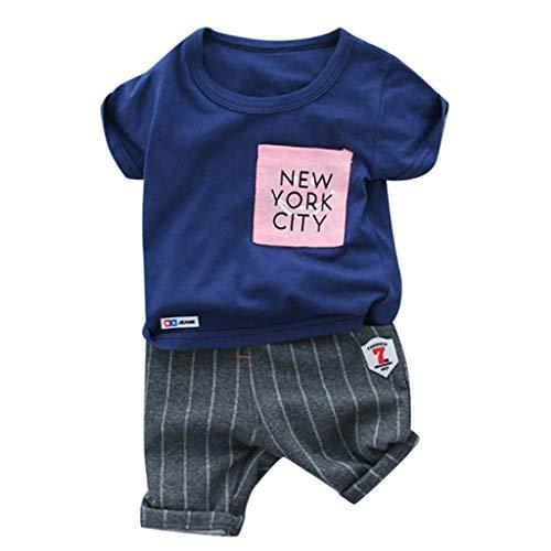 JUTOO Kleinkind Kind Baby Jungen Mädchen Brief T-Shirt Tops + Streifen Shorts Outfits Set (Blau,90/10)
