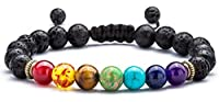Doitory Men Women 8mm Lava Rock Chakra Beads Bracelet Braided Rope Stone Agate Bracelet Bangle(Lava Chakra)