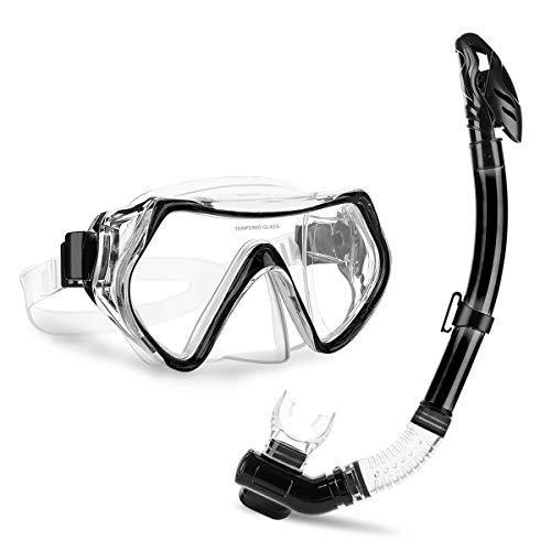 CAMTOA Schnorchelset, Schnorchelmaske mit Anti-Leck Anti-Fog Tauchermaske und Dry Schnorchel inkl Ausblasventil, Schnorchelset für Erwachsene