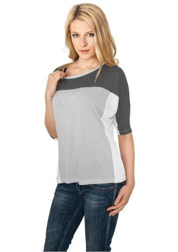 Urban Classics Ladies 3-tone 3/4 Sleeve Tee d.grey/gry/wht