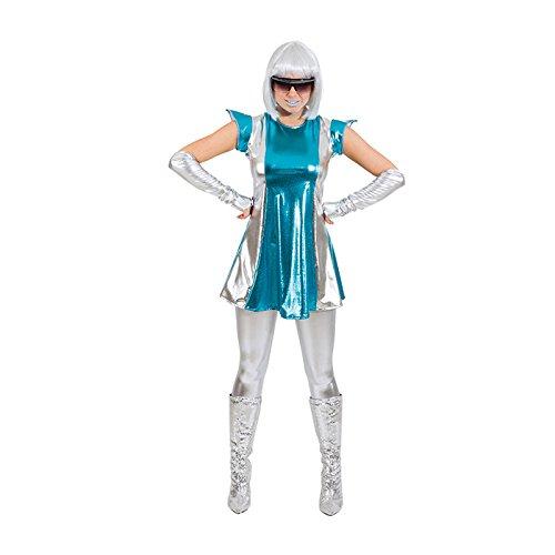 Spacewoman Weltraum Kostüm, Größe (Kostüm Silber Weltraum)
