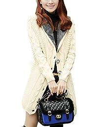 42ae27427bd2 Manteaux En Tricot Hiver Femme Veste à Capuche Épais Manteau Long Pullover  Casual Outwear Cachemire Chandail