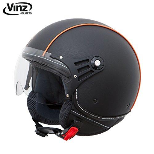 Vinz casco moto scooter casco jet alla moda in pelle nero arancione del casco taglie xs-xl, con visiera, con certificato ece