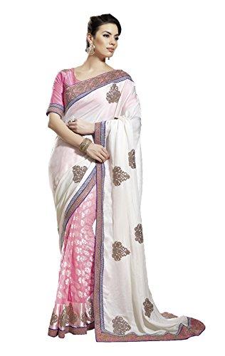 Mansi Sarees Crepe Saree (Man111_White & Pink)