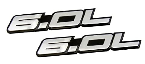 2 x (pair/Set) 6.0L Liter in SILVER on BLACK Highly Polished Aluminum Car Truck Engine Swap Nameplate Badge Logo Emblem for CHEVY TAHOE SUBURBAN GMC VORTEC V8