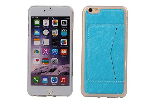Coque Apple iPhone 6 Plus 5.5 inch, Forhouse Ultra Mince Doux Flexible TPU Cover Flip PU Cuir Card/Cash Holder on Case with Kickstand Poids Léger Full Protector Anti-Rayures Shockproof Cover pour Appl Bleu
