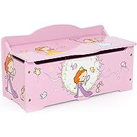 Preisvergleich für Homestyle4u 1110 Kinder Spielzeugtruhe Prinzessin, Spielzeugkiste mit Deckel klappbar, Aufbewahrungsbox, Holz Rosa