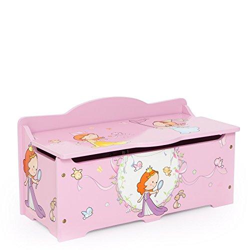Homestyle4u 1110 Kinder Spielzeugtruhe Prinzessin , Spielzeugkiste mit Deckel klappbar , Aufbewahrungsbox , Holz Rosa (Hochglanz-aufbewahrungsbox)