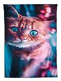 YISUMEI Tapisserie Wandbehang,Blaue Augen kleine orange Katze Wandteppich Wohnzimmer Schlafzimmer Wand Decor Couch Bezug Strandtuch Picknick Tuch,150x200cm