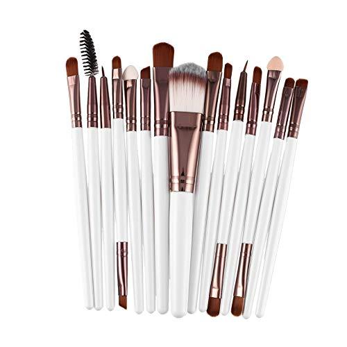 fengwen66 15pcs / kit pinceaux de Maquillage Set cosmétique Maquillage Outil de beauté Brosse Cheveux synthétiques (Blanc et café)
