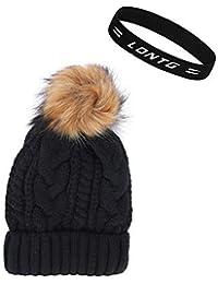 LONTG Bonnet en Tricot à Pompon Femme Fille Chapeau Hiver en Fausse  Fourrure Chapeau de Ski bc35aaf5255