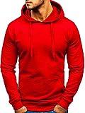 BOLF Herren Kapuzenpullover Hoodie Sweatshirt Basic Sport Style 5361 Rot L [1A1]