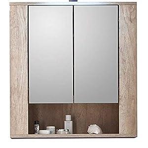 trendteam smart living Armario con espejo para baño Star, 70 x 75 x 22cm, en roble Monument (imitación) con contraste marrón oscuro Touchwood, sin iluminación