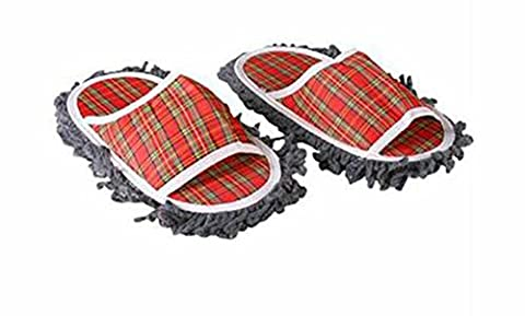 SaySure - Plaid Dusting Microfiber Cleaning Slippers,Red