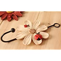 CUPWENH Retro Nostalgic European Style Decorative Hook, Single Hook, Mediterranean Clothing Shop, Back Door, Wall Hanging Hook,Flower Hook White