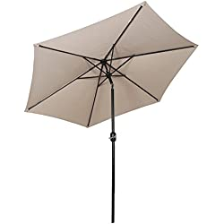 Sekey® 2.7m Parasol inclinable pour Patio Jardin Balcon Piscine Plage Rond Sunscreen UV50+ Taupe