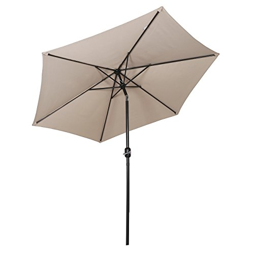 Sekey 2.7m Parasol inclinable pour Patio Jardin Balcon Piscine Plage Rond Sunscreen UV50+ Taupe