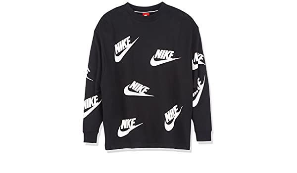 eb490bdfe Nike Women's W Nsw Crew Futura Toss Long Sleeve Sweatshirt,Multicolor(Black /White),Large: Amazon.co.uk: Sports & Outdoors