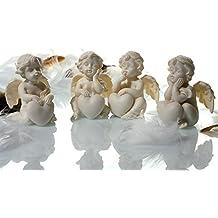 Lot de 12figurines de bébé ange avec coeur 4cm x 5,5cm x 4cm Blanc Putte Décoration Mariage Baptême Naissance Noël Angel Prière Souvenir dragées
