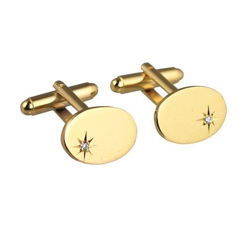 British Jewellery Workshops Dur plaqué Or 12x17mm Boutons de Manchette Etoiles Ovale Ensemble CZ pivotantes