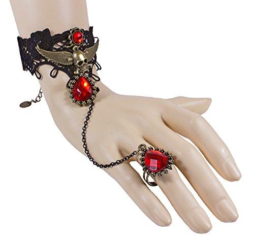 Kostüm Elena Vampire Diaries - Spitzen Armband mit Totenkopf und Ring - Schwarz Rot - Wunderschöner Hand Finger Schmuck zum Vampir Hexen Kostüm zu Halloween Fasching Gothic Motto Party