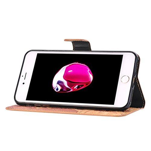 Hülle für iPhone 7 plus , Schutzhülle Für iPhone 7 Plus Weltkarte Muster Horizontale Flip Leder Tasche mit Halter & Card Slots & Wallet ,hülle für iPhone 7 plus , case for iphone 7 plus ( Color : Grey Coffee