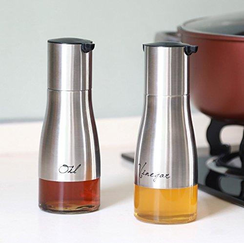 STAR - LINE Ölflasche Öl und Essig Spender Set Glas/Edelstahl I 300ml ca.19cm I Ölspender Flasche für Olivenöl/Speiseöl / Dressing