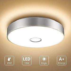 Onforu 18W LED Deckenleuchte Badezimmer, IP65 Wasserdicht Deckenlampe, 1600lm 2700K Warmweiß Küchenlampe, CRI>90 Badezimmerlampe, Mordern Decke Badlampe Lampe für Küche, Schlafzimmer, Wohnzimmer, Bad