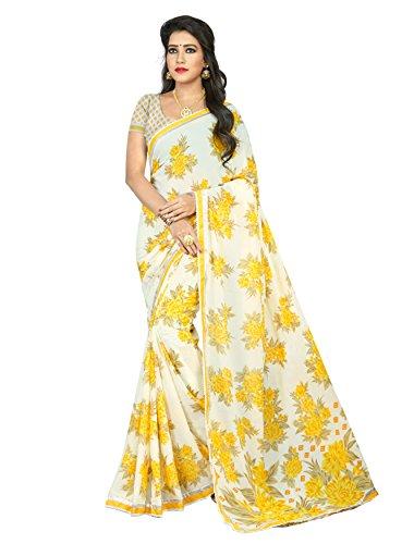 Jaanvi Fashion Women's Georgette Printed Saree (Yellow)