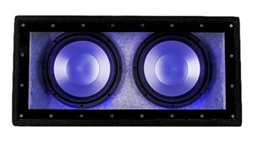auna  Cannonbeat TX10 Passive Car Subwoofer Plexiglas and LED Effect Lighting in Blue High-Performance (2 x 10`` Woofers, 2 x 200W RMS Power, Bass Reflex Cabinet with Felt Cover) Black